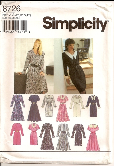 Simplicity 8726 Sizes 8,10,12,14